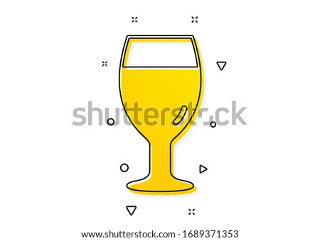 Pub Craft beer sign. Beer glass icon. Brewery beverage symbol. Yellow circles pattern. Classic beer glass icon. Geometric elements. Vector