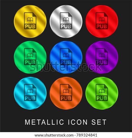 PUB file format symbol 9 color metallic chromium icon or logo set including gold and silver