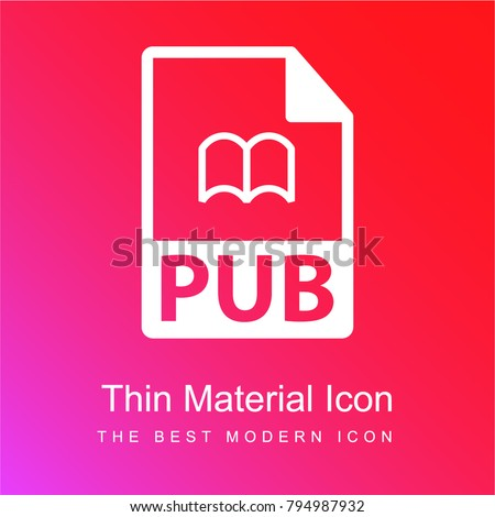 PUB file format symbol red and pink gradient material white icon minimal design