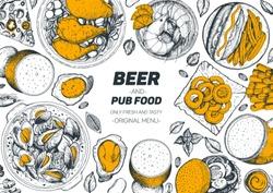 Pub food and beer vector illustration. Beer, meat, fast food and snacks hand drawn. Food set for pub menu design, top view. Vintage engraved illustration for beer restaurant.