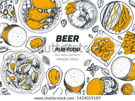 pub food and beer vector