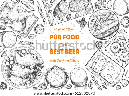 Pub food frame vector illustration. Beer, meat, fast food and snacks hand drawn. Food set for pub design top view. Vintage engraved illustration for beer restaurant for beer restaurant. #612982070