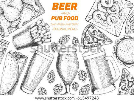 pub food frame vector