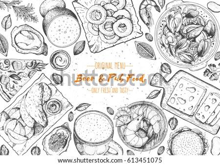 Pub food frame vector illustration. Beer, mussels, meat, fast food and snacks hand drawn. Food set for pub design top view. Vintage engraved illustration for beer restaurant.