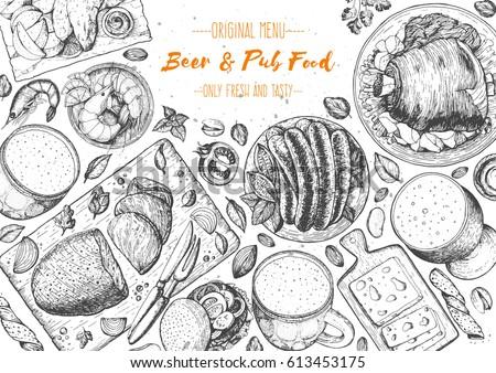 Pub food frame vector illustration. Beer, roast beef, meat, fast food and snacks hand drawn. Food set for pub design top view. Vintage engraved illustration for beer restaurant.