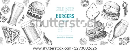 pub food menu beer and burgers