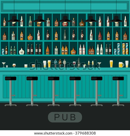 Pub interior with bar counter, bar chairs and shelves with alcohol.