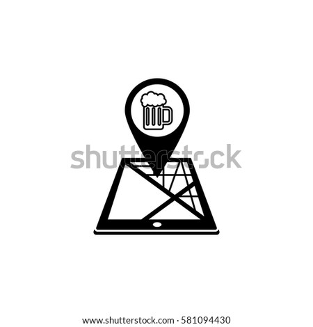 Pub map pointer solid icon, mobile gps navigation and location, beer on tablet vector graphics, a filled pattern on a white background, eps 10.