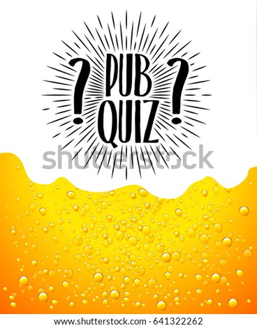 Pub quiz. Beer background. Quiz night announcement poster design web banner background vector illustration. Modern pub team game. Questions game