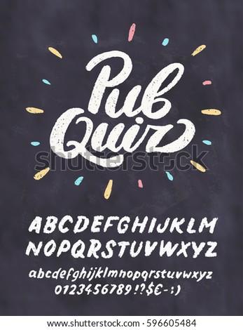 Pub quiz. Chalkboard sign template.