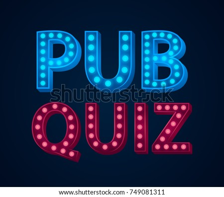 Pub quiz lamp concept. Vector illustration. Element template for design.