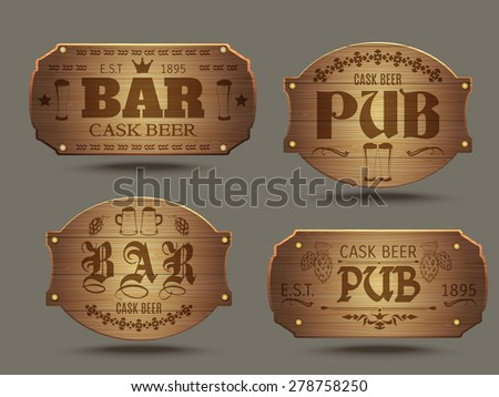 pub wooden old fashioned signs