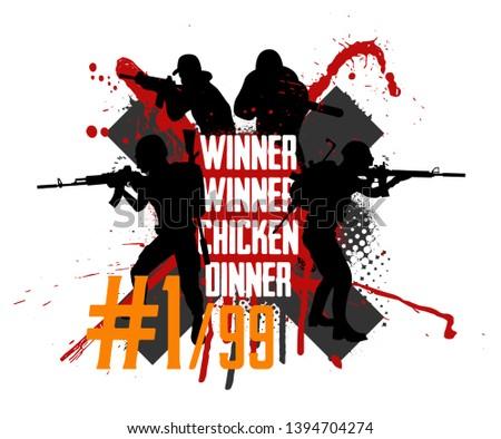 Pubg concept. Squad militarys. Playerunknown's battlegrounds. battle royale game Pubg, Fortnite. Slogan - Winner winner chicken dinner. Vector illustration grunge style