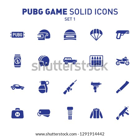 PUBG game glyph icons. Vector illustration of combat facilities. Solid design. Set 1 of icons