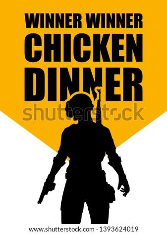 pubg game. silhouette of a soldier, player. in uniform. vector illustration logo. logo winner winner chicken dinner.