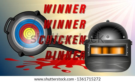 PUBG - PlayerUnknowns Battlegrounds Game. Pan with the target and an armored helmet black with visor, front view. Realistic banner, poster vector illustrations.
