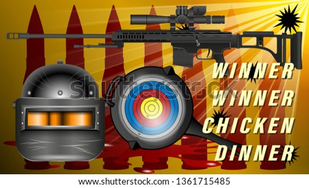 PUBG - PlayerUnknowns Battlegrounds Game. Pan with the target and an armored helmet black with visor, Sniper rifle with telescopic sight, bullet hole. Realistic banner, poster vector illustration.