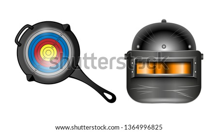 PUBG - PlayerUnknowns Battlegrounds Game. Pan with the target and an armored helmet black with visor, front view isolated on a white background. Realistic banner, poster vector illustrations.