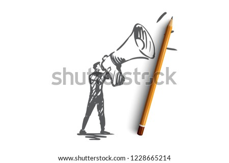 Public, advertising, communication, pr, media concept. Hand drawn pr manager with megaphone concept sketch. Isolated vector illustration.