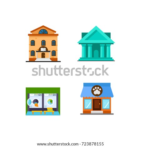 Public building icon set