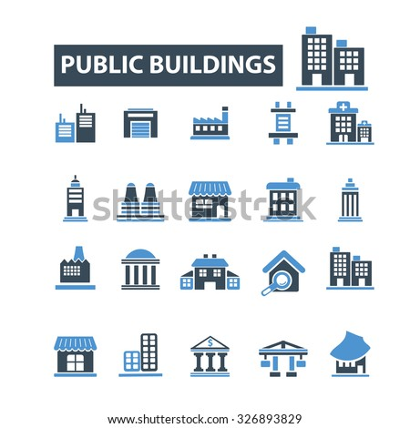public buildings, houses icons