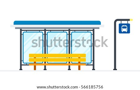 Public bus stop vector flat material design object. Isolated illustration on white background.