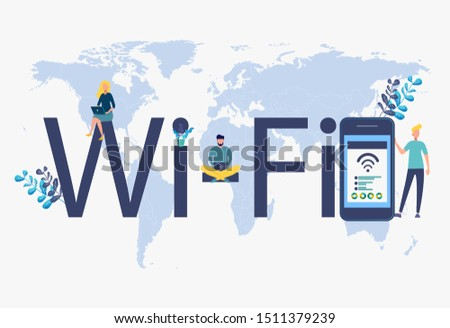 Public free wireless, wireless Wi-Fi hotspot, for mobile user interface. Colorful vector illustration