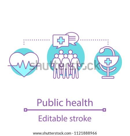 Public health concept icon. Medicine idea thin line illustration. Healthcare organization. Vector isolated outline drawing. Editable stroke
