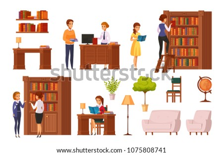 Public library flat orthogonal elements collection with bookshelves librarian desk reading room accessories visitors isolated vector illustration