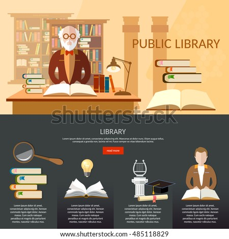 Public library infographic elements, students read books, librarian professor library interior with people reading books vector flat illustration