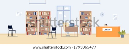 Public library interior background with bookshelves and counter of librarian, flat vector illustration. Town or university library with book storage cases.