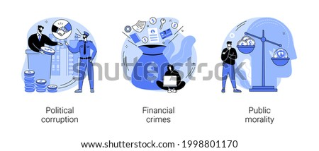 Public life abstract concept vector illustration set. Political corruption, financial crimes, public morality, ethical standards, bribery and tax offense, money laundering abstract metaphor. Сток-фото ©