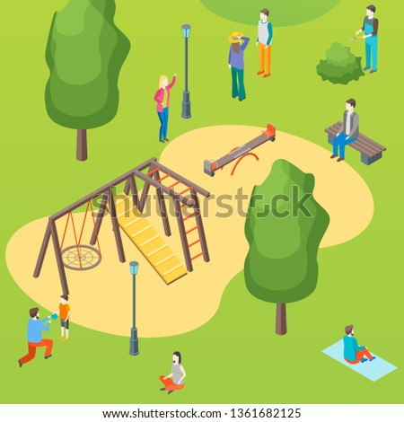 Public Park and Children Playground with People Concept Card Poster Scene Element Web Design Style. Vector illustration of Active Leisure in City
