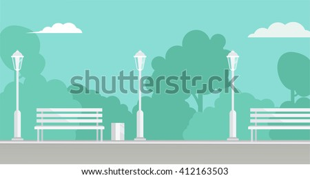 Public Park background. Picture of a city park with bench and  park lamppost, with bushes and trees on background. Vector flat illustration eps 8