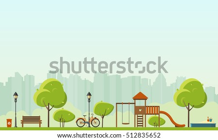 Public park in the City. Vector Flat illustration.