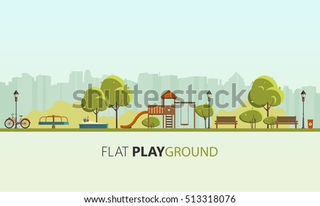 Public park in the City. Vector Flat illustration.   - Shutterstock ID 513318076