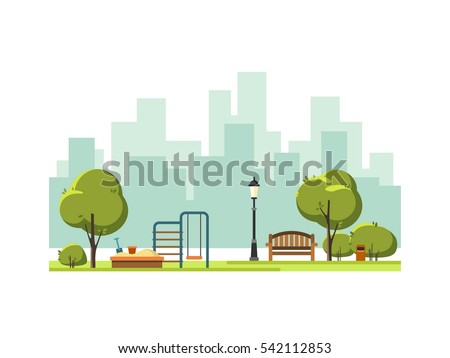 Public park in the city with children playground. Vector illustration.