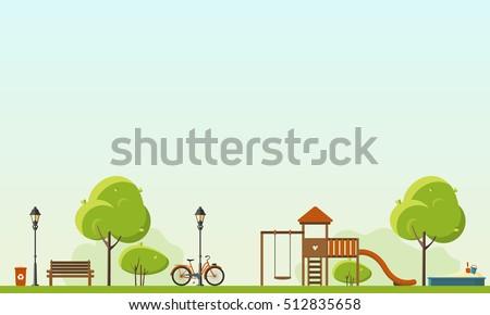 Public park. Vector Flat illustration. Easy to make pattern.  ストックフォト ©