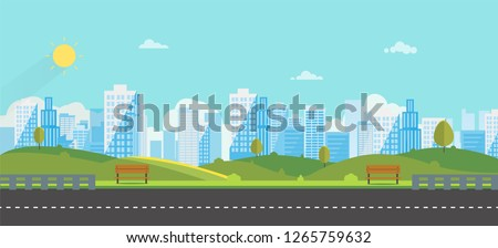 Public park with bench main street city with sky and city background.Beautiful nature scene with town and hill.Clean spring amazing scenery. Vector illustration.Road with urban ストックフォト ©