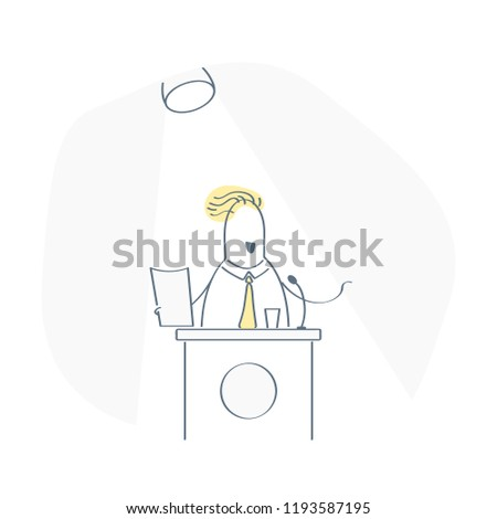 Public performance on stage, fun cute public speaker, businessman standing behind rostrum and speaking from tribune. Mentor, orator, event speaker concept. Flat outline vector illustration isolated