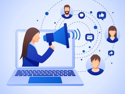 Public relations and marketing background with symbols and people. Social media marketing concept. Flat style design with gradient. Modern vector.