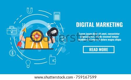 Public relations concept banner, promotion marketing on internet, target laptop computer arrow speaker flat 3d illustration on blue background