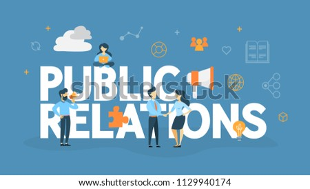Public relations concept. Idea of making announcements through mass media to advertise your business. Management and marketing strategy. Flat vector illustration