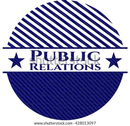 Public Relations emblem with denim high quality background