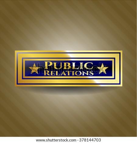 Public Relations golden emblem or badge
