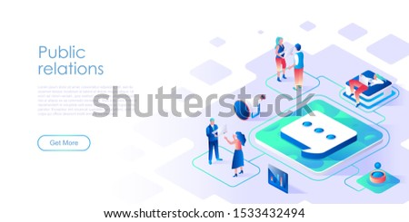 Public relations isometric landing page vector template. Business marketing department website homepage interface layout. Customer relationship management web banner isometry concept Foto stock ©
