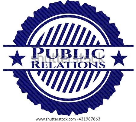 Public Relations jean or denim emblem or badge background