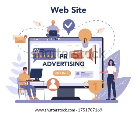 Public relations online service or platform. Idea of making announcements through mass media to advertise your business. Flat vector illustration