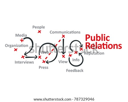 Public Relations 2018 red marks white background vector