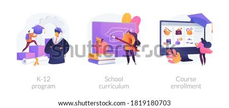 Public school abstract concept vector illustration set. K-12 program, school curriculum, course enrollment, learning calendar, education plan, degree program, new student abstract metaphor.